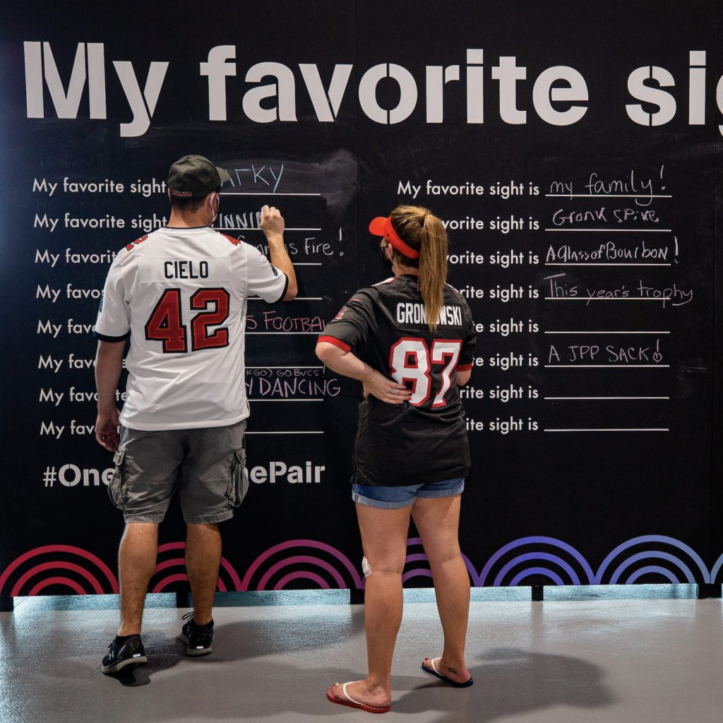 TAMPA, FL - OCTOBER 18, 2020 - The Glazer Vision Foundation ëMy Favorite Sightí wall before the game between the Green Bay Packers and Tampa Bay Buccaneers at Raymond James Stadium. The Buccaneers won the game, 38-10. Photo By Jason Parkhurst/Tampa Bay Buccaneers
